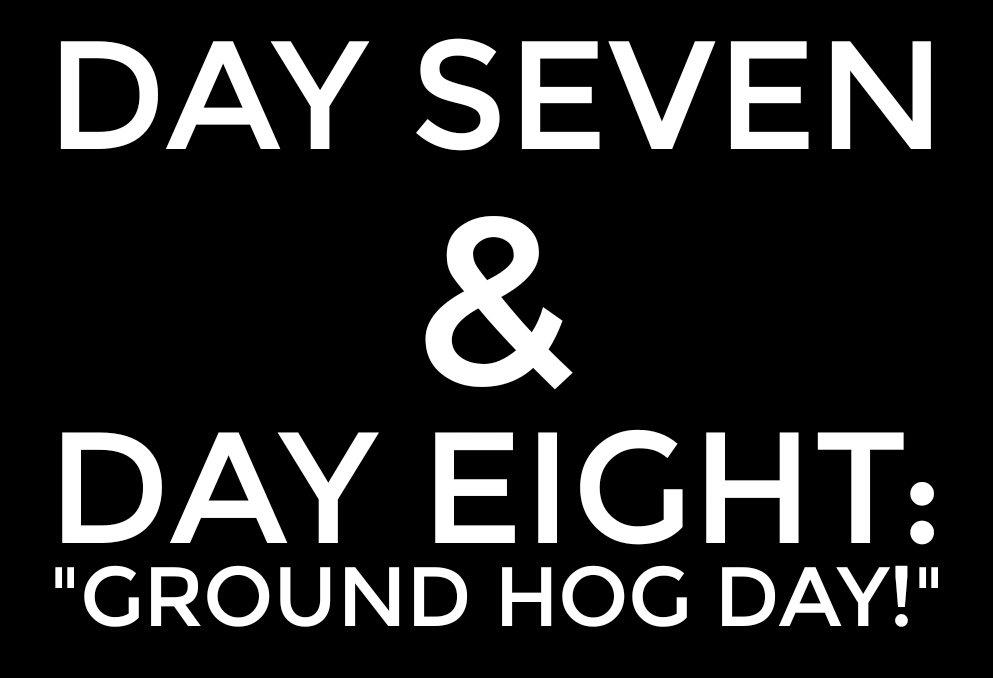 "DAY SEVEN & DAY EIGHT: ""Ground Hog Day!"" 1"