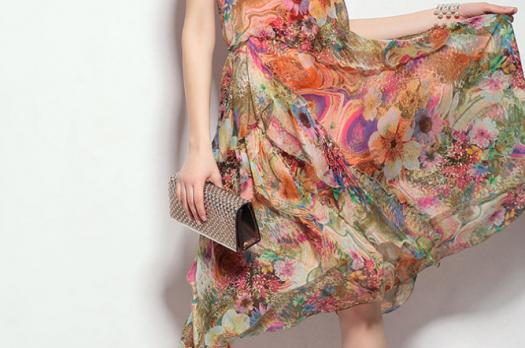 Crew Neck Sleeveless Casual Floral Print Midi-Dress