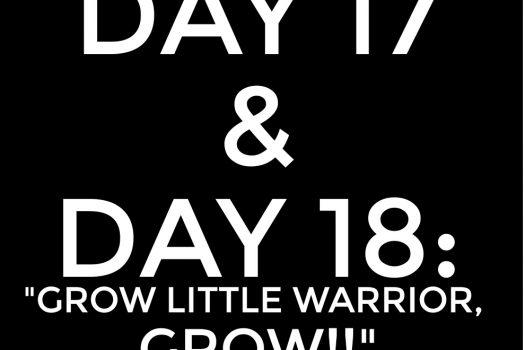 DAY 17 & DAY 18: grow little warrior, grow!